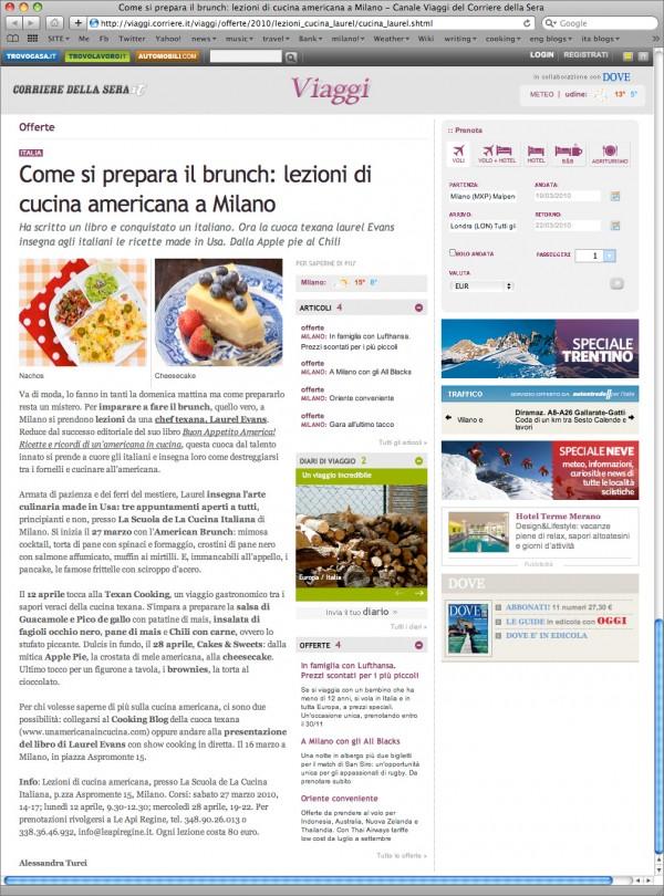 Corriere.it – Corsi di cucina americana