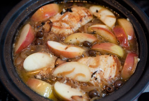 Braised Chicken with Caramelized Onions, Olives and Apples