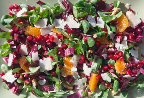 Pomegranate, Walnut and Radicchio salad with Clementine Vinaigrette