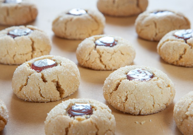 Peanut Butter & Jelly Thumbprint Cookies