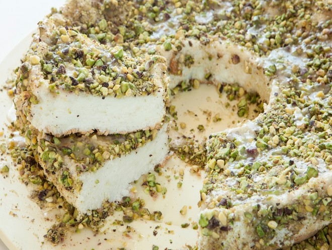 Angel Food Cake with Lime and Pistachios