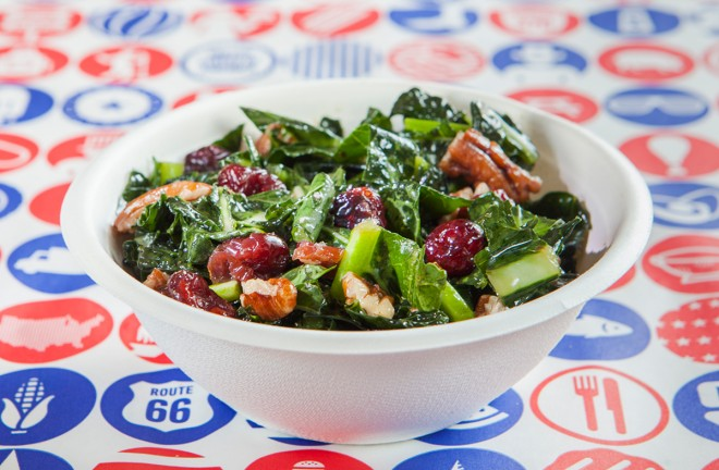 Kale salad with toasted pecans and dried cranberries
