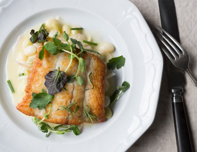 Crisp flounder with field pea ragout and herb salad