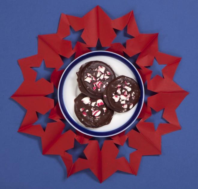 Biscotti ricoperti al cioccolato e menta
