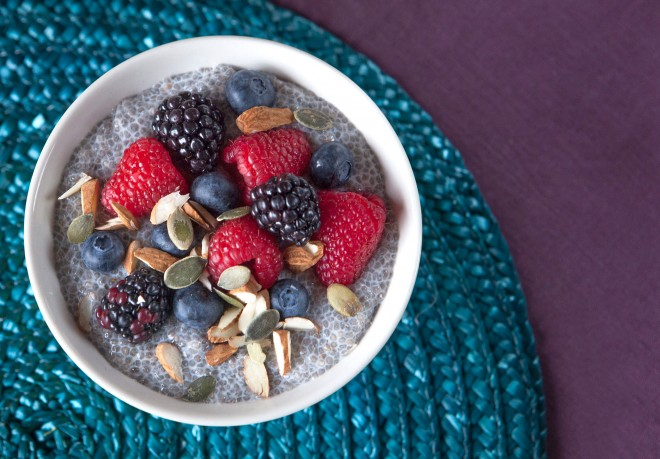 Chia and almond milk pudding