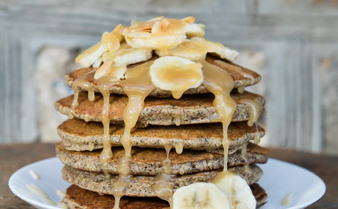Buckwheat pancakes with banana and honey
