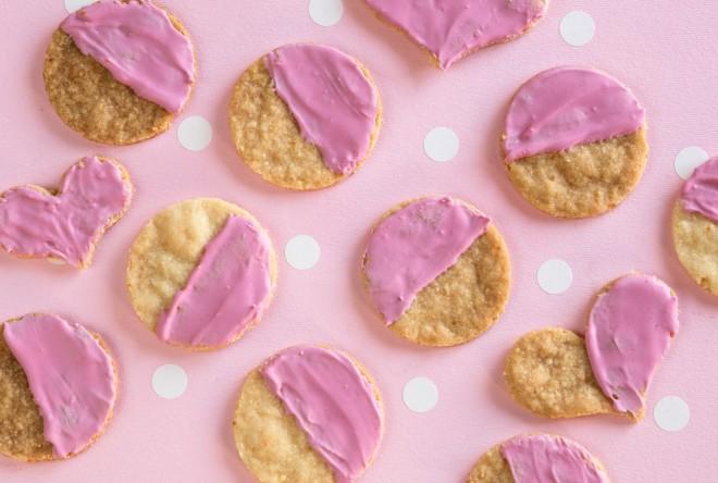 Lemon shortbread cookies with pink beet icing