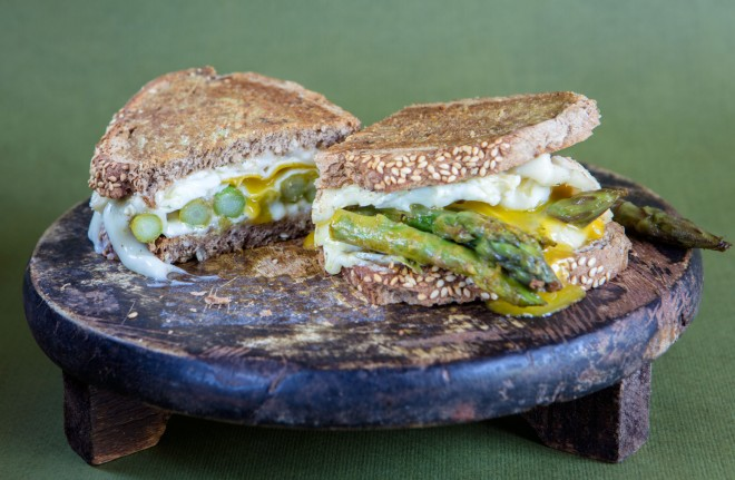Asparagus grilled-cheese sandwich with egg and taleggio