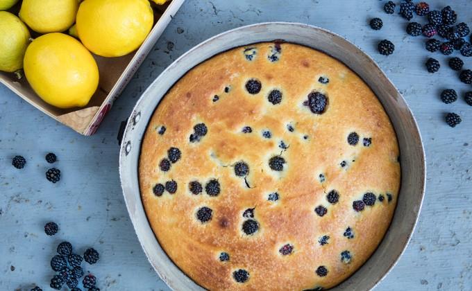 Ricotta cake with lemon and blackberries