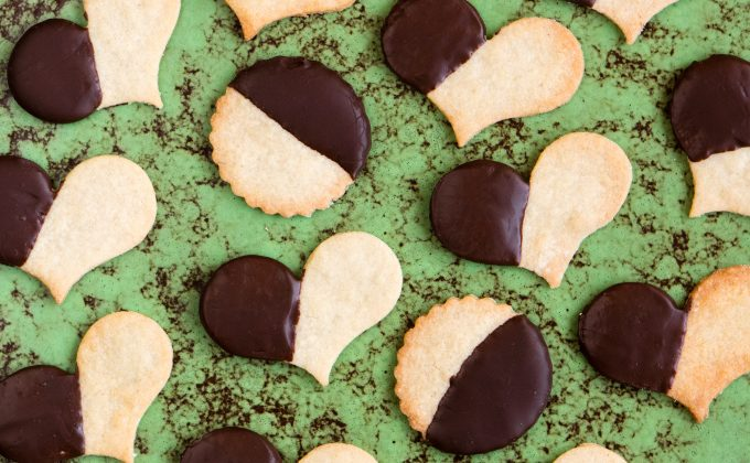 Chocolate-dipped Almond Hearts