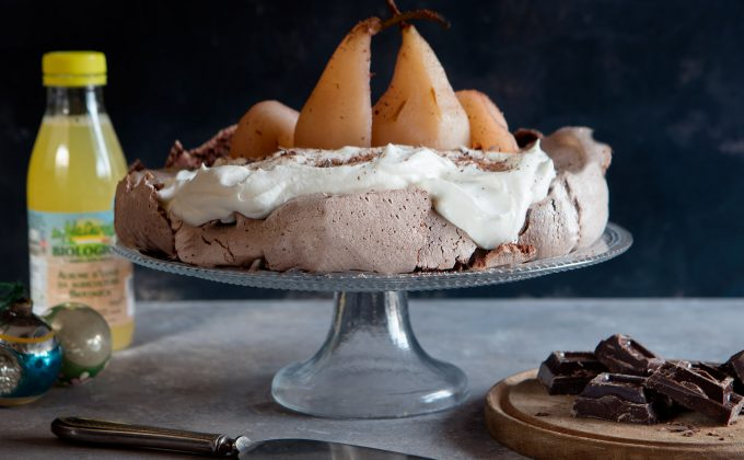 Chocolate Pavlova with Poached Pears
