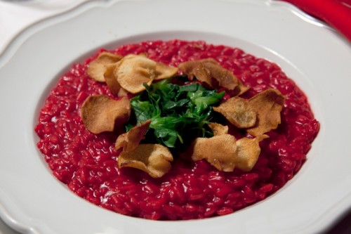 Beet Risotto with Watercress and Jerusalem Artichoke Chips