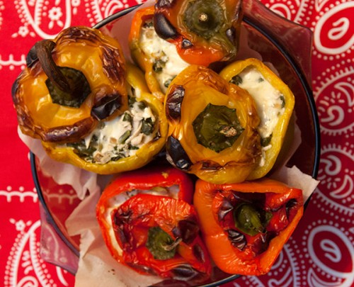 Stuffed Peppers with Chicken, Chard and Cheddar
