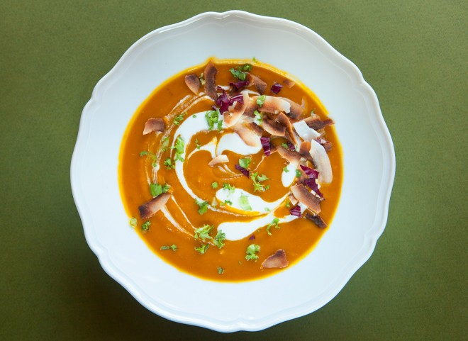 Pumpkin and ginger soup with coconut cream