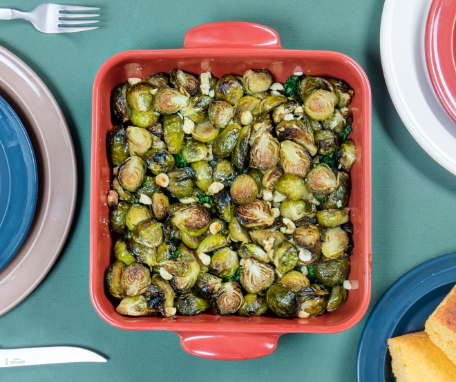 Brussels sprouts with maple syrup and hazelnuts